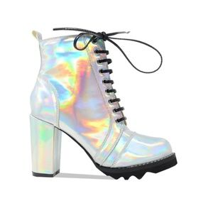 Women's Hologram Chunky Heel Lace Up Military Boot